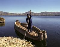 Reed Boat at Floating Island Lake Titicaca, Peru
