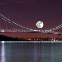 """""""Moon over the Verrazano Narrows Bridge"""" by eddiemo106"""