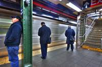 New York City subway platform in HDR.