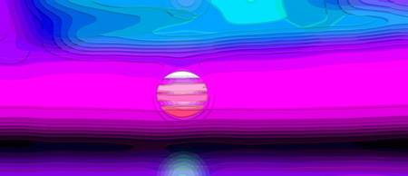 Magenta Seaside Sunset Abstract