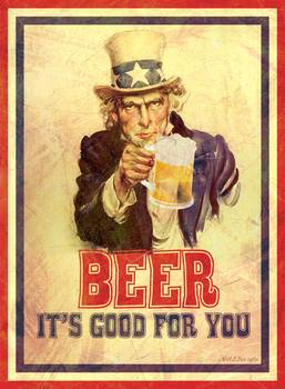 Vintage Poster Beer It S Good For You Uncle Sam By Nick