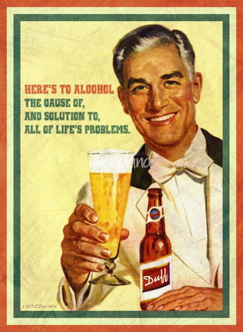 Heres To Alcohol Vintage Poster By Nick E Bee