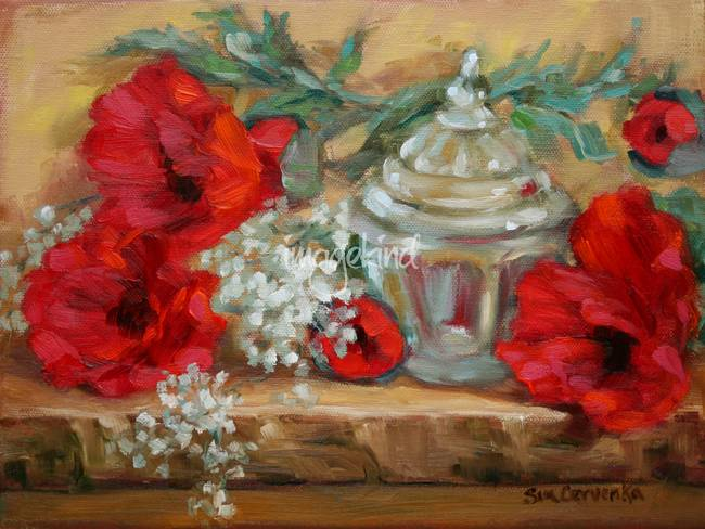 Red Poppies with Glass Jar