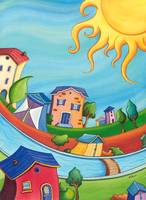 Kids room Colorful Sunny houses