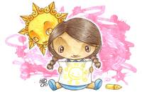 Little girl drawing a happy sun