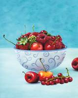 Strawberries and cherries still life art