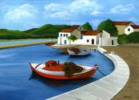 Red fishing boat landscape