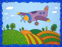 Cartoon plane Landscape, kids room art