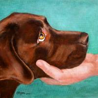 """Chocolate Lab Head In Hand"" by DogsandFlowers"
