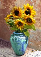 Sunflowers in Blue-Green Vase