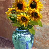 Sunflowers in Blue-Green Vase by I.M. Spadecaller