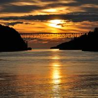 """Spring Sunset over Deception Pass Bridge"" by CaptureLife"