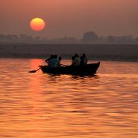 """""""Rowing Boat on the Ganges at Sunrise"""" by Serena"""
