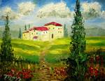 Tuscany Hillside Painting by Mazz Original Paintings