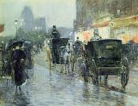 Horse Drawn Cabs at Evening, New York by C. Hassam
