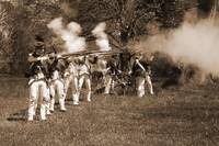 5 Redcoats Shooting w canon sepia