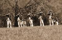 5 Redcoats Shooting sepia