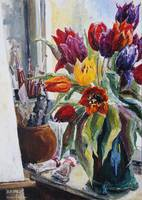 Studio Corner With Tulips