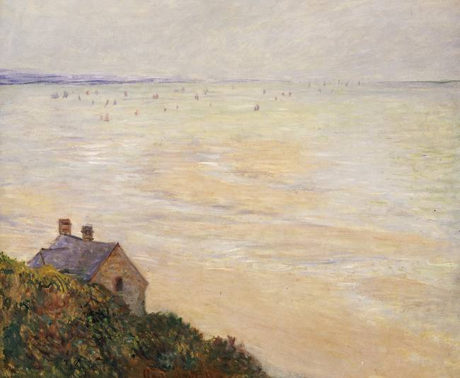 The Hut at Trouville, Low Tide by Claude Monet