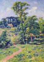 Landscape with trees and a path leading to a cotta