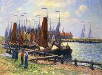 The Port of Volendam, Holland by Henry Moret