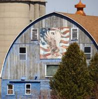 Patriotic design on old barn