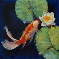 Koi and White Lily