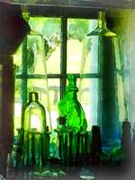 Green Bottles on Windowsill