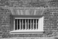 Barred Window at Shirley Plantation bw