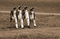 4 Redcoats Marching sepia