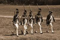 5 Redcoats Marching sepia