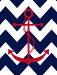 Chevron Anchor Red Navy Posters