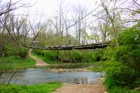 An old foot bridge over the creek