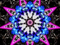 Blue & Pink Spiky Star Kaleidoscope Mandala