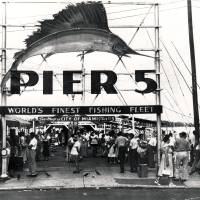 """Pier 5, Miami, c1950 (b/w photo)"" by fineartmasters"