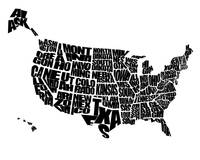 USA Text Map - Black on White