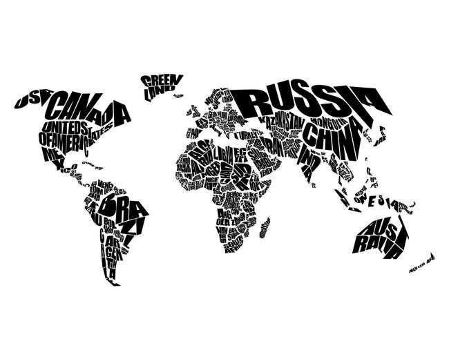 world text map black on white by preston dean