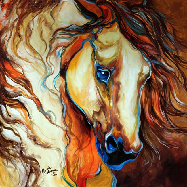 WILD WEST BUCKSKIN EQUINE OIL ORIGINAL MARCIA BALD