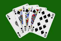 Playing Cards Royal Flush on Green Background