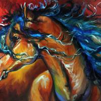 """RED THUNDER INDIAN WAR HORSE"" by MBaldwinFineArt2006"