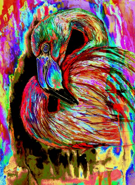Stunning Quot Flamingo Quot Collage Mixed Media Artwork For Sale