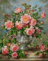 English Elegance Roses in Silver Vase by A. Willia