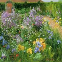 Sweet Rocket, Foxgloves and Irises by T. Easton