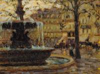 La fontaine, Paris by Henri E. A. Le Sidaner