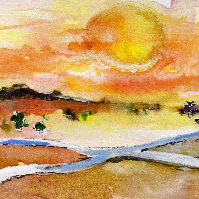 Sun Rising Sqaure landscape Crossroads Watercolor