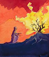 God speaks to Moses from the burning bush