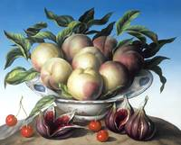 Peaches in Delft bowl with purple figs by A. Kleis