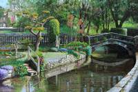 Bridge and Garden, Bakewell, Derbyshire by T. Neal