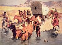 Indians attacking a pioneer wagon train by F. Remi