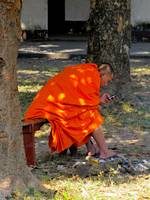 Buddhist monk with iPod in Luang Prabang, Laos
